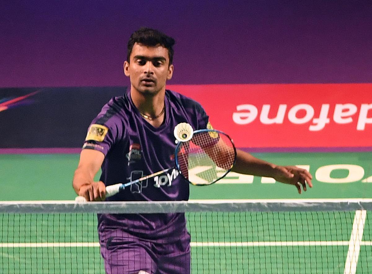 Sameer Verma of Mumbai Rockets en route to his win over Mark Caljouw of Hyderabad Hunters in the Premier Badminton League. DH Photo/ Srikanta Sharma R