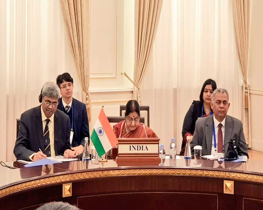 India's position was enunciated by External Affairs Minister Sushma Swaraj at the historic India-Central Asia Dialogue here, with the participation of Afghanistan, which focussed on a plethora of regional issues including enhancing connectivity to the country ravaged by terrorism. (Image source: Twitter)