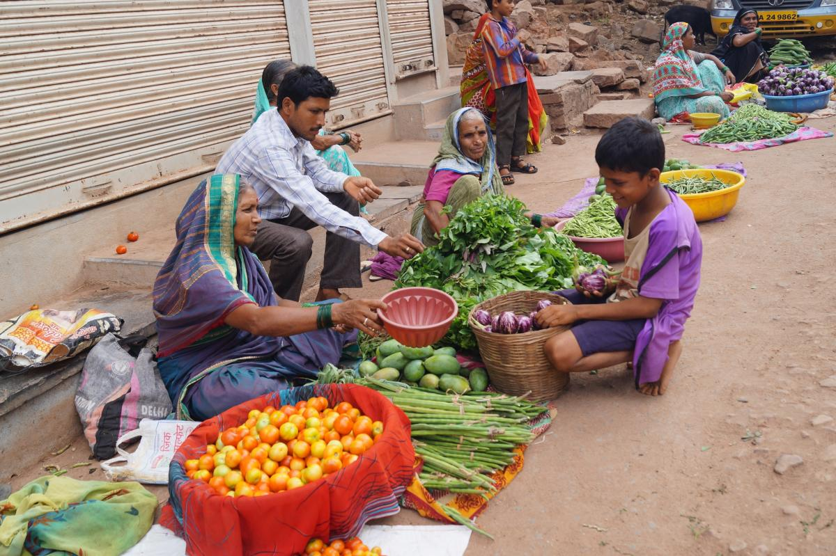 innovative: (Closckwise from above) Ajjappa sells his farm produce at the local Sunday market; Ajjappa explains about the mixed farming practices; harvesting. photos by author