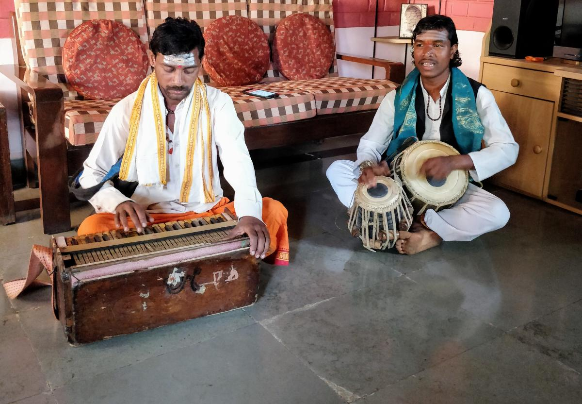 Folk Tradition Bhuvanesh Yedabale and his brother Hanumant on a performance.