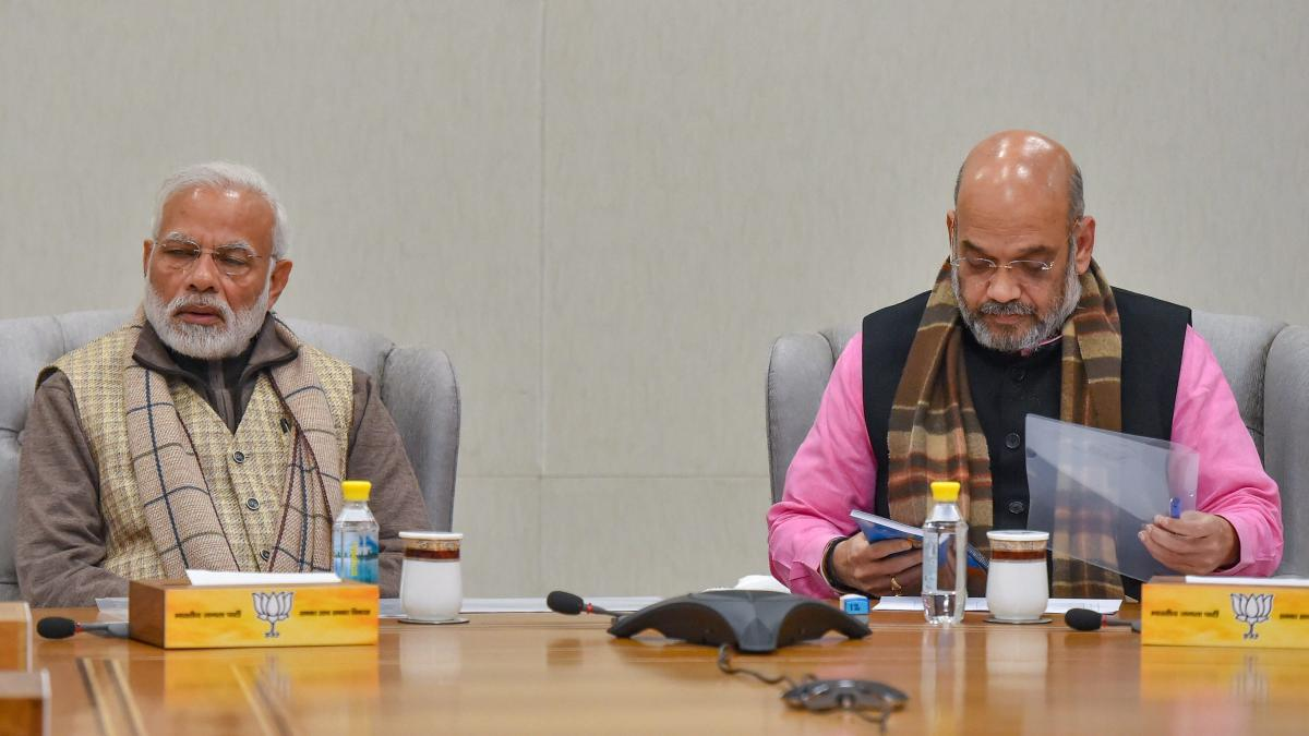 Prime Minister Narendra Modi and BJP president Amit Shah during the BJP Parliamentary Board meeting after recent Assembly election results in New Delhi on Thursday. PTI