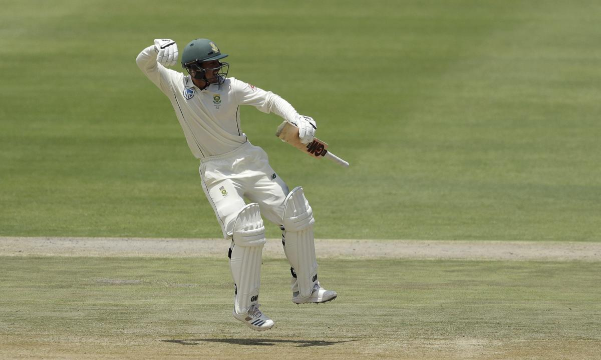 South Africa's Quinton de Kock celebrates his century on day three of the third Test against Pakistan in Johannesburg on Sunday. AP/PTI