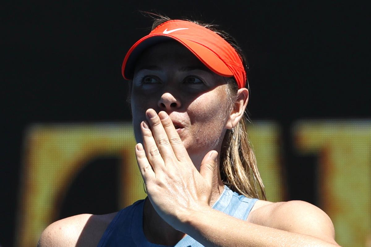Australian Open - First Round - Rod Laver Arena, Melbourne, Australia, January 14, 2019. Russia's Maria Sharapova reacts at her match against Britain's Harriet Dart. REUTERS