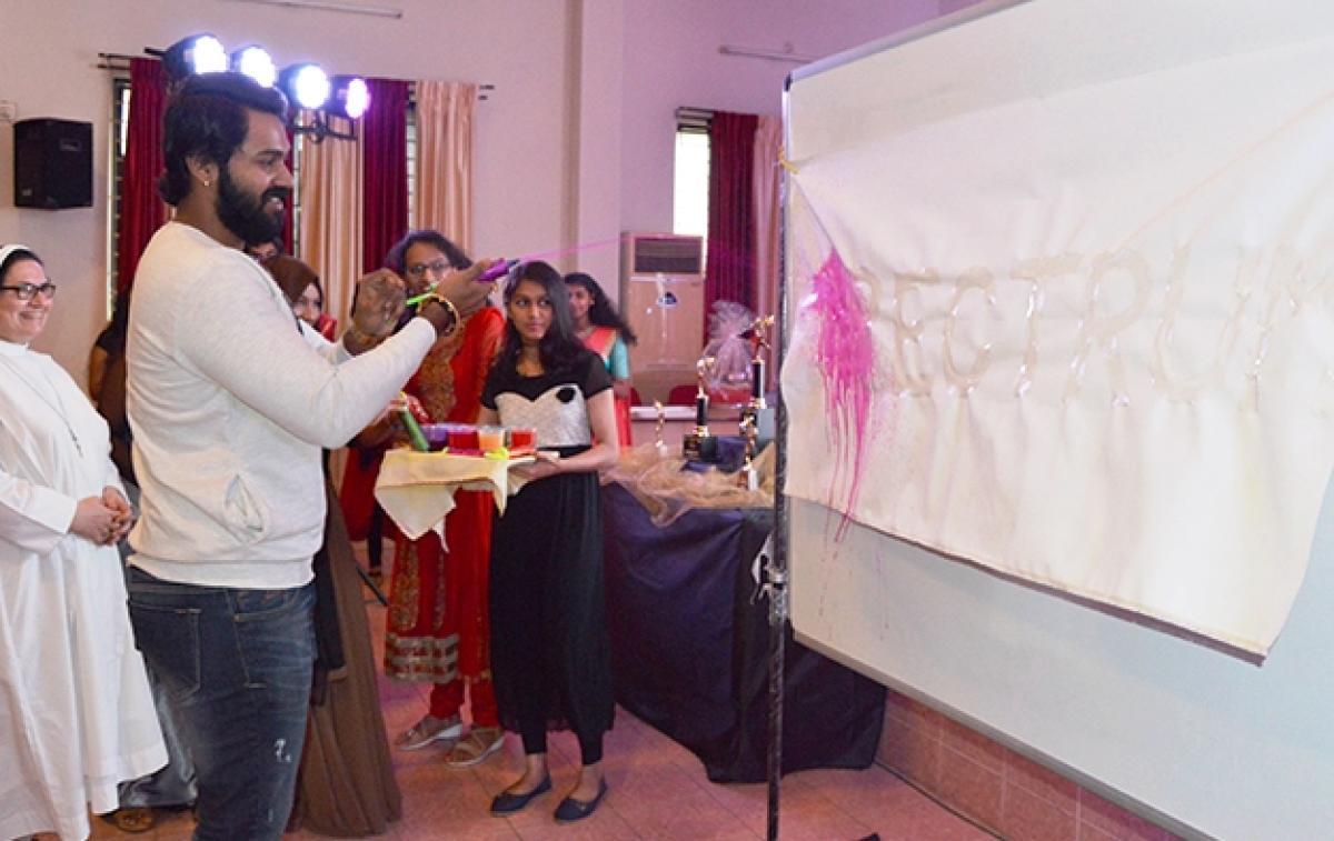 Actor Arjun Kapikad inaugurates the National level short film festival 'Spectrum' organised by St Agnes College in Mangaluru on Sunday. College principal Sr Dr Jeswina looks on.