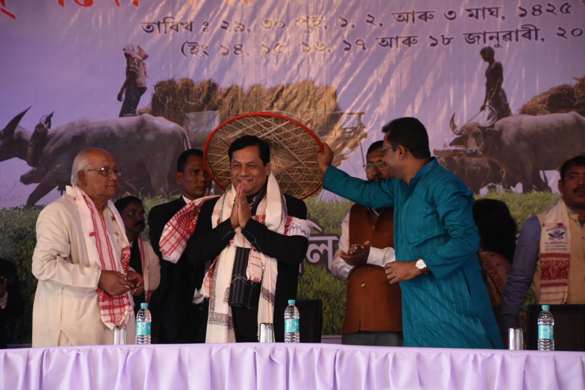 Sonowal at a Bihu function in Nagaon district on Tuesday. Photo credit: Assam government.
