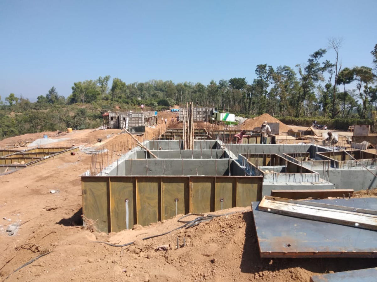 The houses being constructed in Karnangeri in Madikeri, for the victims ofthe natural calamity.