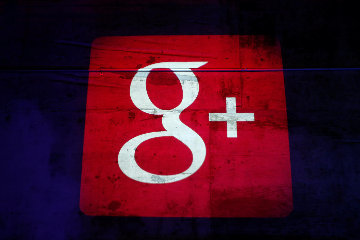 The Google Plus logo is projected on to the wall during a Google event in San Francisco, California in 2013. REUTERS