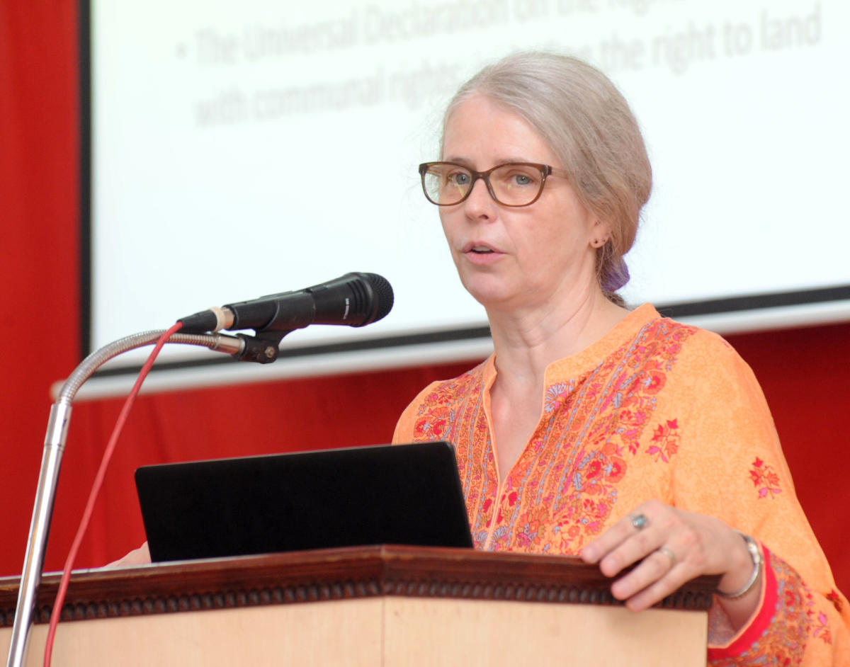Ute Ritz-Deutch, New York State Coordinator for Amnesty International, US, speaks at the conference hall of the Sophia Block at St Agnes College, Mangaluru, on Thursday.