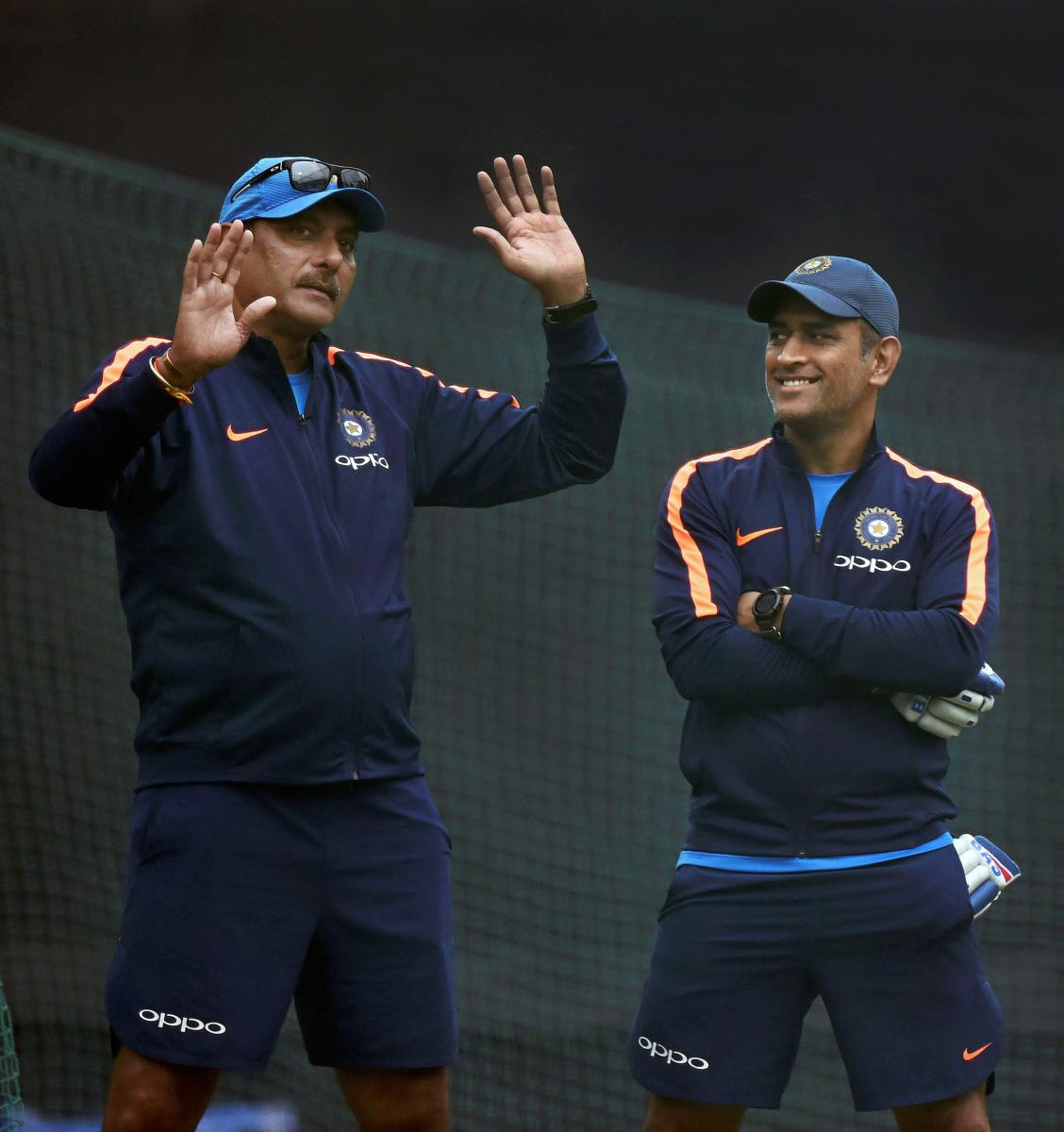 Ravi Shastri (left) with M S Dhoni. File photo