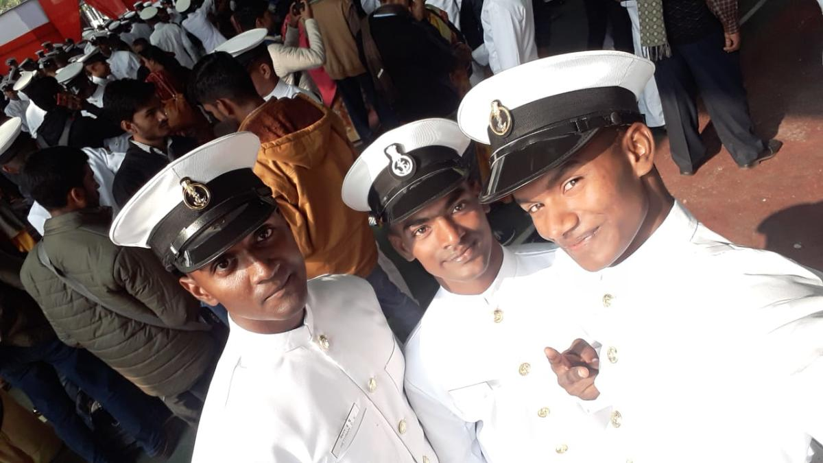 A Diyotes (right) became the first from the fishermen community in Thangachimadam to join the ICG as a sailor.