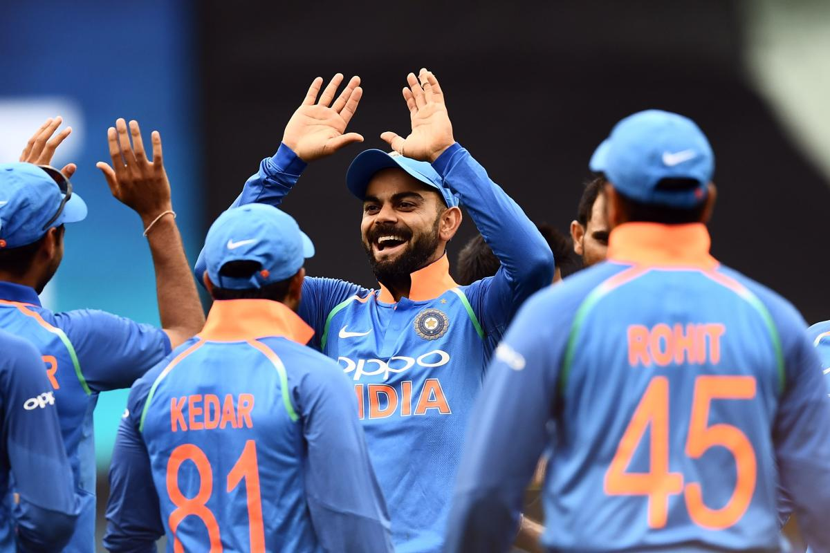 Indian captain Virat Kohli (centre) said he is feeling confident about his team's balance ahead of the World Cup in May. AFP