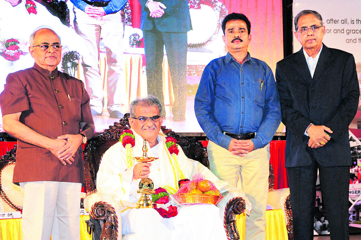 Sri Kshetra Dharmasthala Dharmadhikari Dr D Veerendra Heggade was felicitated during the Besant Centenary celebrations organised by Women's National Education Society (WNES) at T M A Pai International Convention Centre in Mangaluru on Friday.
