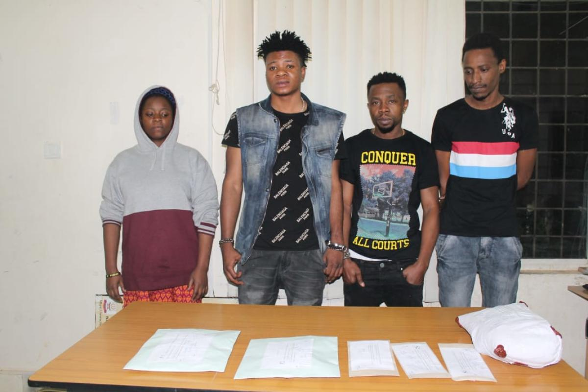 The arrested suspects Irene Omoibe, Nwanoro Chigbo Victor, Kenneth Jideofol and Antwan Faisal Mohammad.
