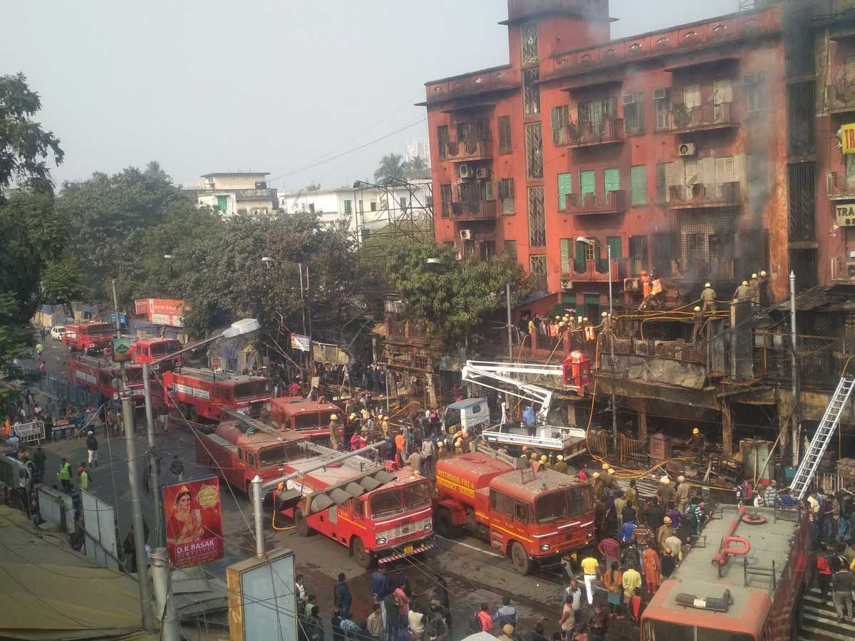 A major fire broke out on early Sunday at a five-storey building in southern Kolkata, gutting goods worth lakhs and destroying multiple shops next to the building, a senior fire department official said. Picture courtesy Twitter