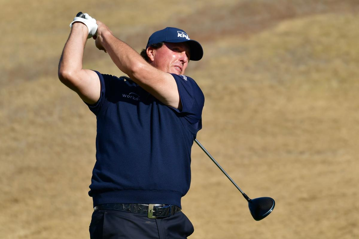 STEADY GOING: US' Phil Mickelson tees off during the third round of the Desert Classic on Saturday. AFP