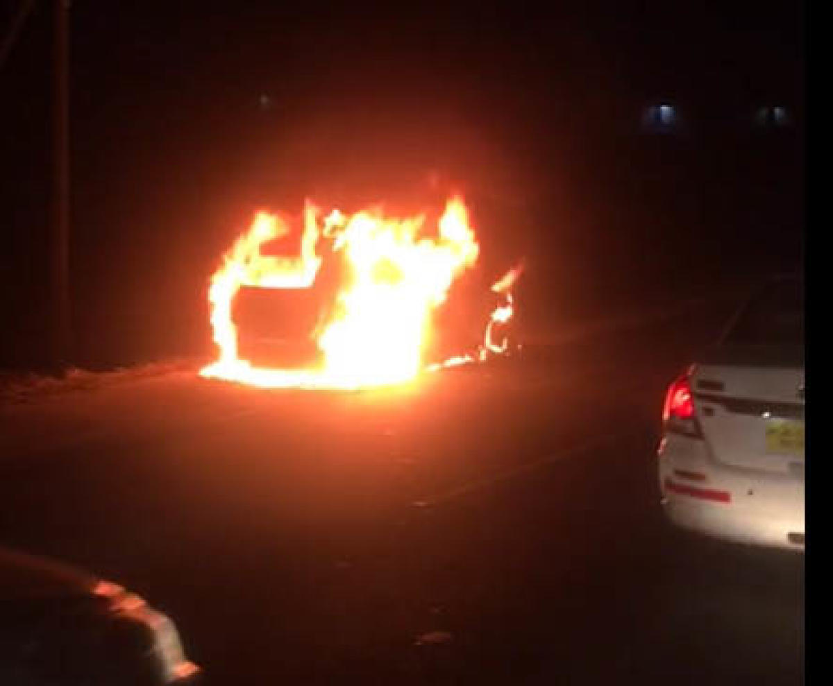 The incident was reported on the busy Mysuru Road in Bidadi.