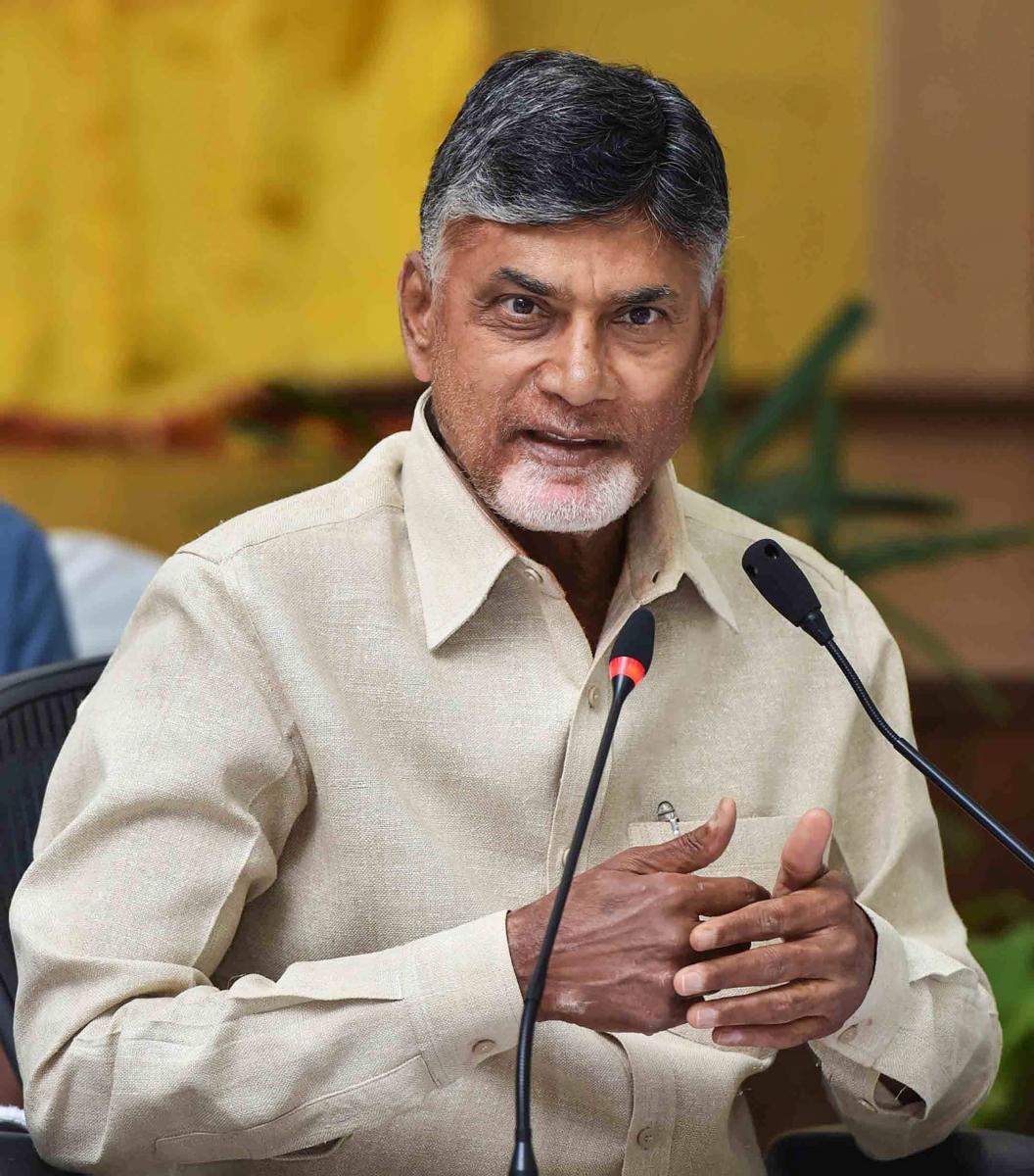 Vijaywada: Andhra Pradesh Chief Minister N Chandrababu Naidu seen addressing a press conference, in Vijaywada, in this dated (Saturday, Jan 12, 2019) file photo. (PTI Photo) (PTI1_12_2019_000220B)
