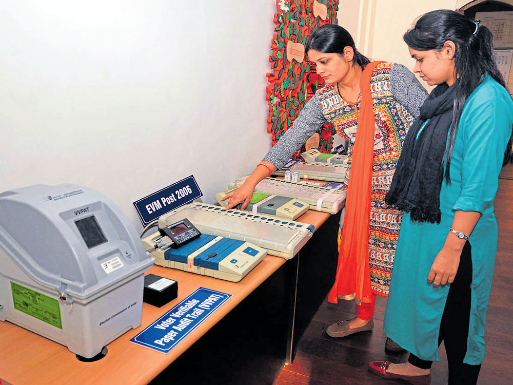 """""""The ECI-EVMs are stand-alone machines designed to connect only amongst ECI-EVM units (Ballot Unit, Control Unit and VVPAT) through cables that remain in full public view. There is no mechanism in ECI-EVMs to communicate with any device through wireless communication on any Radio Frequency,"""" the TEC said. (File Photo)"""