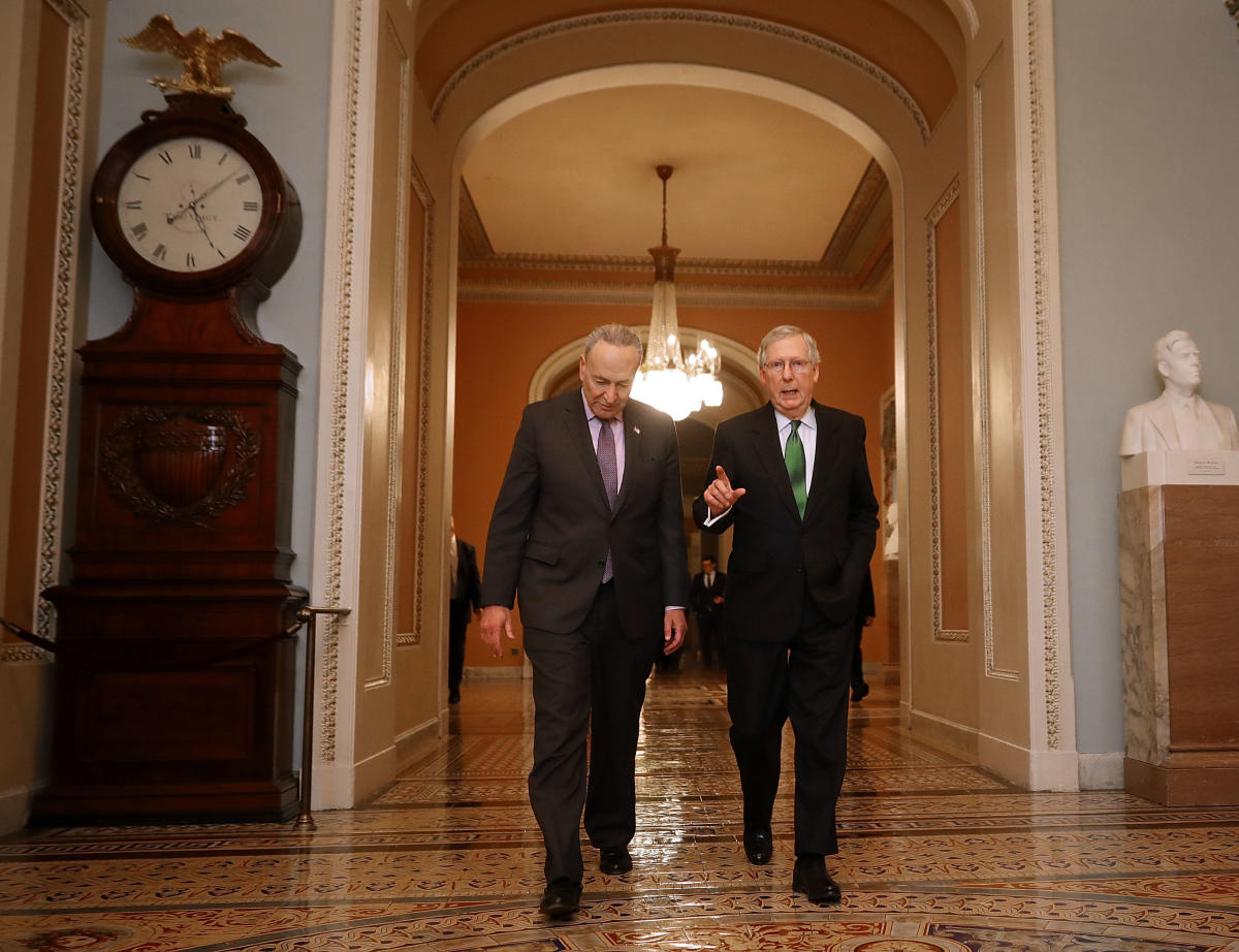 Senate Majority Leader Mitch McConnell and top Democrat Chuck Schumer announced an agreement on the Senate floor Tuesday for a pair of test votes. AFP photo
