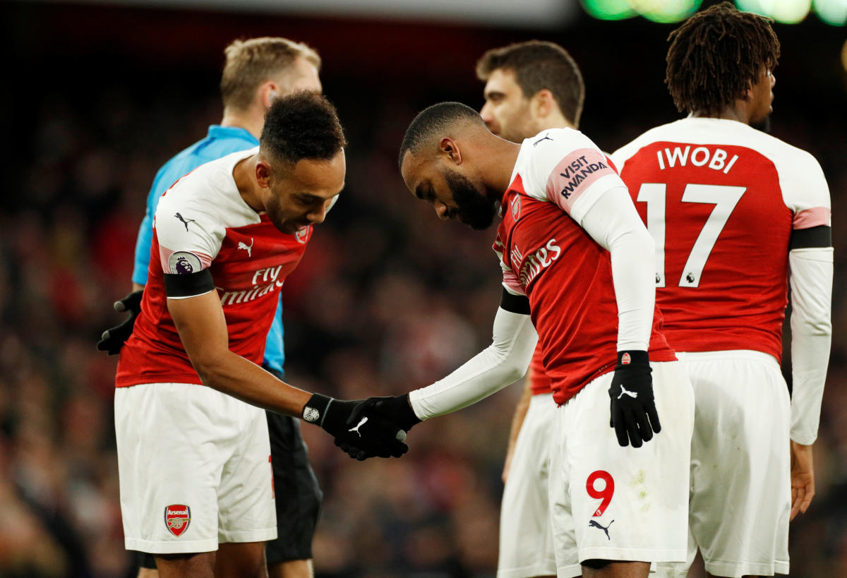 TWOM TO TANGO: Strikers Alexandre Lacazette (right) and Pierre-Emerick Aubameyang have to be at their best if Arsenal looks to take down a resurgent Manchester United on Friday. Reuters