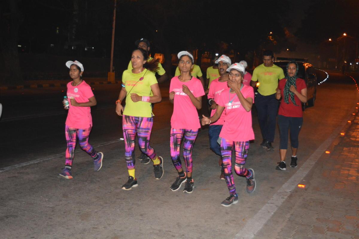 Visually impaired athletes run a 150 km ultra-marathon from Mysuru to Bengaluru, in Mysuru on Wednesday.