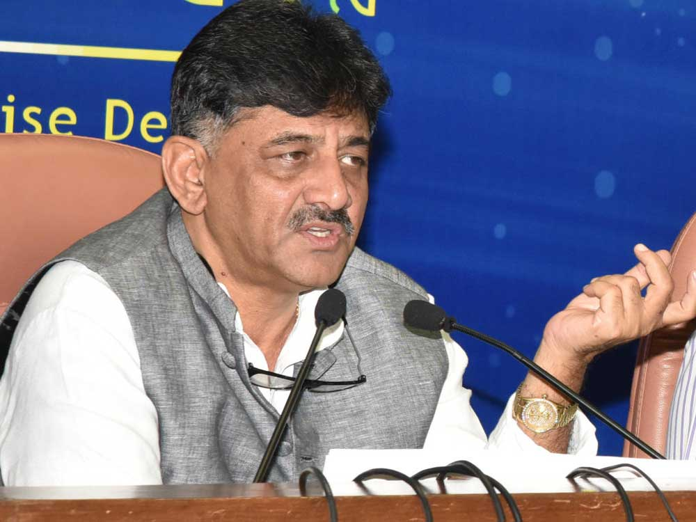 Addressing a state-level workshop organised by the National Water Mission and the state department of Water Resources, Irrigation Minister D K Shivakumar said on Thursday that the government would form a committee comprising officials from the irrigation, energy and police departments to draft the legislation and rules. (DH File Photo)