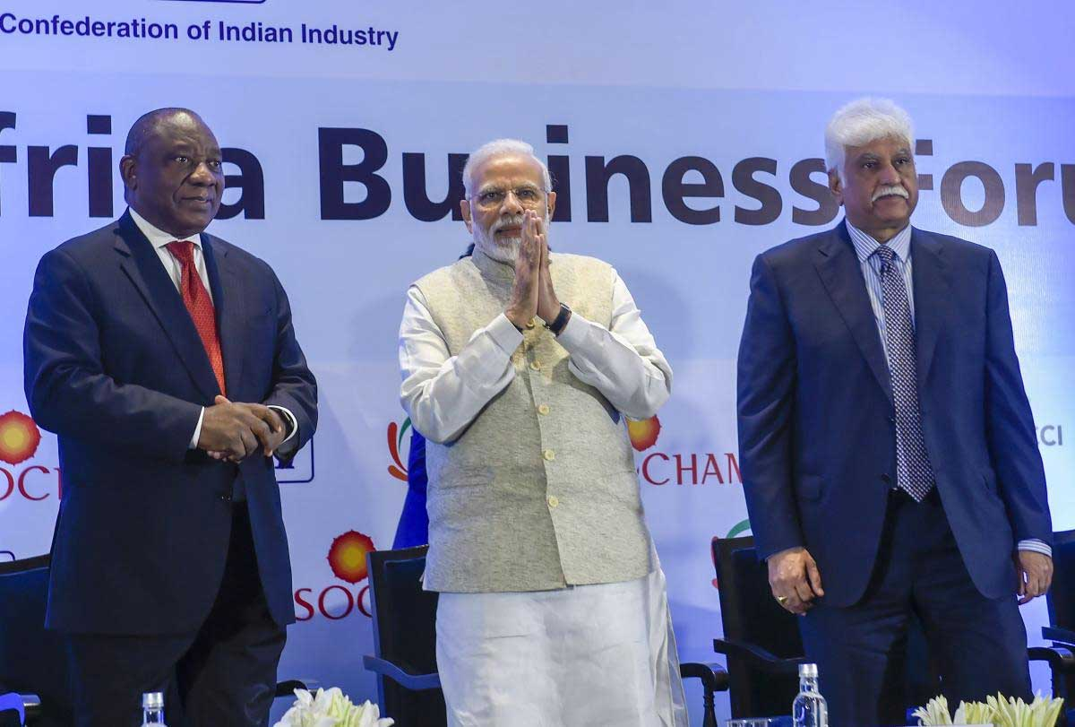 Prime Minister Narendra Modi, South African President Cyril Ramaphosa and CII President Rakesh Bharti Mittal during the India-South Africa Business Forum meeting in New Delhi, Friday, Jan 25, 2019. (PTI Photo)