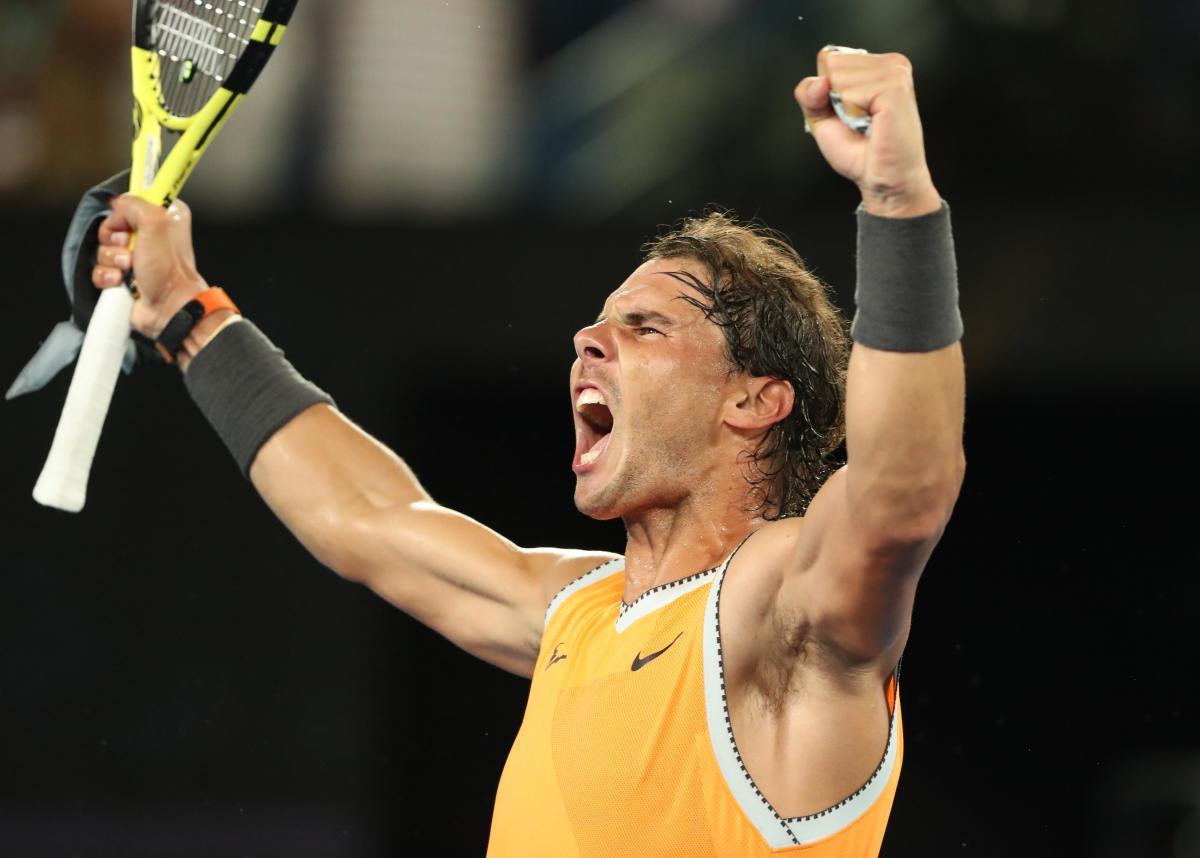Rafa Nadal celebrates his semifinal win.