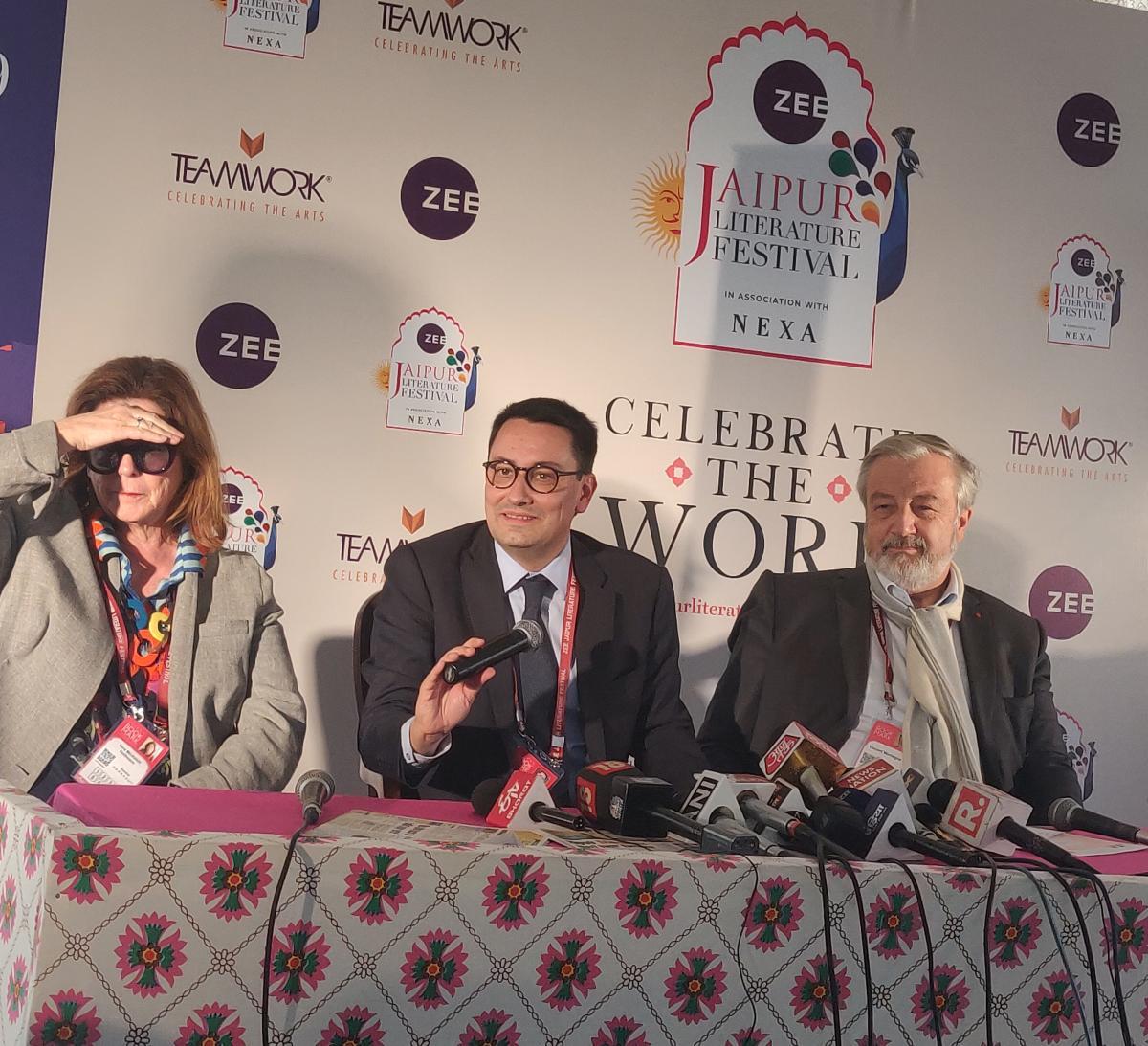 Ambassador of France to India, Alexandre Ziegler (centre), speaks at the JLF on Friday. Photo by SUMAN SARKAR