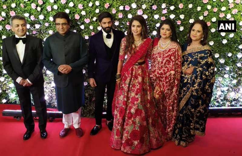Maharashtra Navnirman Sena president Raj Thackeray's son Amit got married to fashion designer Mitali Borude on Sunday. ANI photo