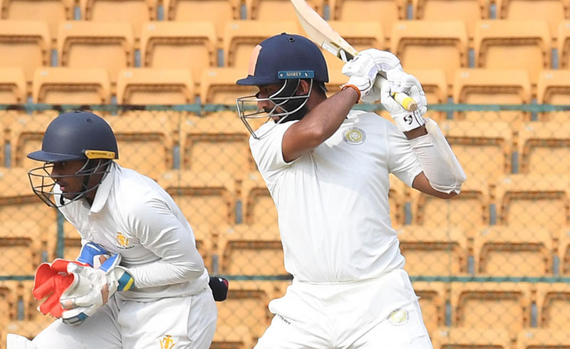 Cheteshwar Pujara (108 not out, 216b, 14x4), a man who has a special liking for Karnataka, once again stood tall for Saurashtra to all but seal their place in the final. His outstanding unbroken 201-run stand with Sheldon Jackson (90 not out, 204b, 13x4) helped the visitors reach 224/3. It leaves Jaydev Unadkat's men just 55 runs away from facing Vidarbha in the title clash.