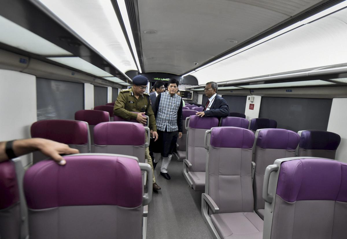 Railway Minister Piyush Goyal inspects the country's fastest T-18 train, scheduled to run between New Delhi and Varanasi railway stations, at New Delhi Railway Station in New Delhi. (PTI Photo)