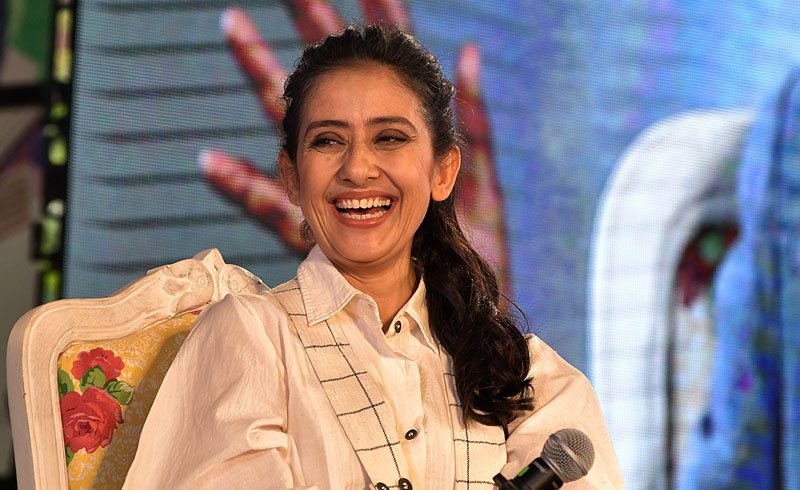 Bollywood Actress and cancer survivor Manisha Koirala speaking about her book 'Healed: How Cancer Gave Me A New Life' on the fourth day of Jaipur Literature Festival on Sunday afternoon. (Photo by Suman Sarkar)