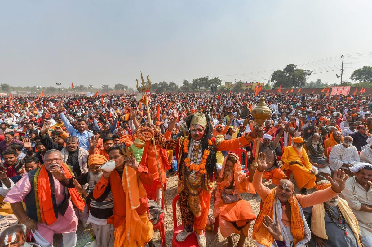 Supporters participate in`Dharam Sabha', being organised by the Vishwa Hindu Parishad to push for the construction of the Ram temple. PTI file photo.