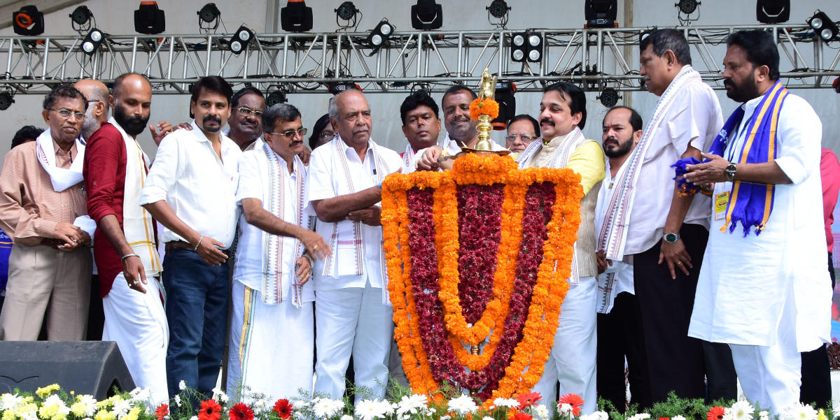 District In-charge Minister U T Khader inaugurates the Tulu Movies Shathotsava organised by Coastalwood Artistes' and Technicians' Cultural Association at Nehru Maidan in Mangaluru.