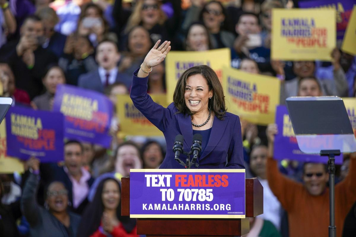 Democratic Sen. Kamala Harris, of California, waves to the crowd as she formally launches her presidential campaign at a rally in her hometown of Oakland, California. AP/PTI