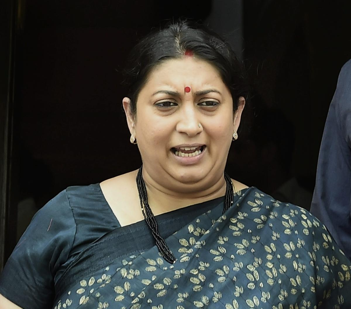 Union Information and Broadcasting Minister Smriti Irani at Parliament House during budget session in New Delhi on Thursday. PTI Photo