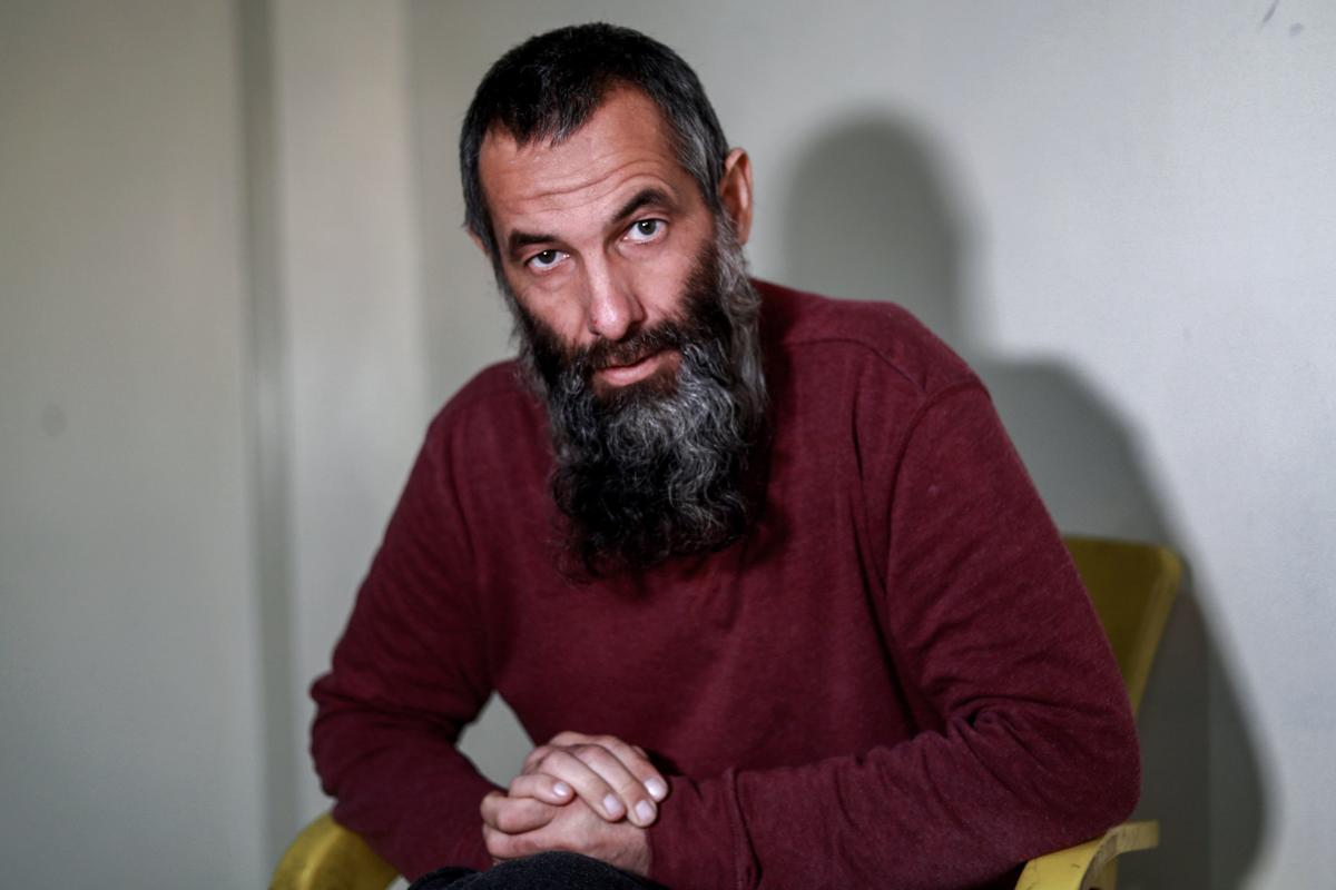 Alexandr Ruzmatovich Bekmirzaev, a 45-year-old Belarusian native and naturalised Irish citizen who was detained along with four other purported foreign jihadists by the Syrian Democratic Forces (SDF), speaks during an interview with AFP in Hassakeh on Jan