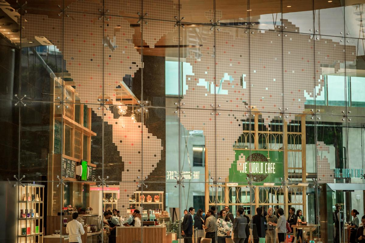 The World Cafe inside the WTC has high ceilings and is a celebration of world food.
