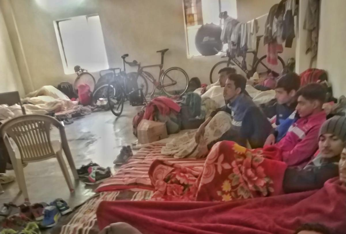 The entire Rajasthan men's team comprising 30 players have been put up in a hall, and have been made to sleep on the floor, in Jaipur. PHOTO/ Suman Sarkar