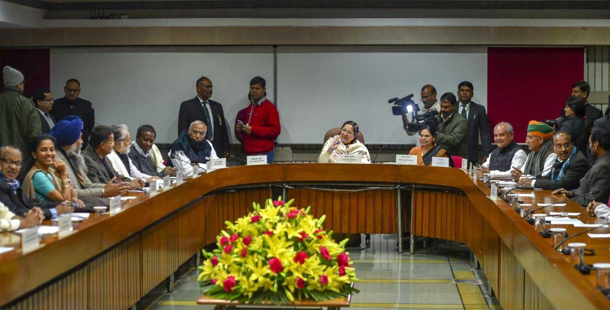 Lok Sabha Speaker Sumitra Mahajan during a meeting with leaders of various political parties ahead of the budget session at Parliament House, in New Delhi, Wednesday, Jan. 30, 2019. (PTI Photo)