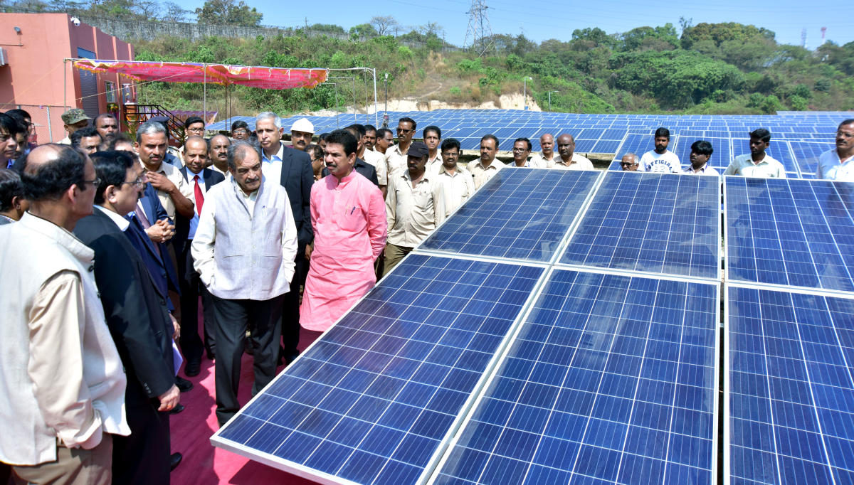 Union Minister of Steel Chaudhary Birender Singh, MP Nalin Kumar Kateel and others at the inauguration of 1.3 MW capacity solar power plant, KIOCL Blast Furnace Unit, at Panambur on Wednesday.