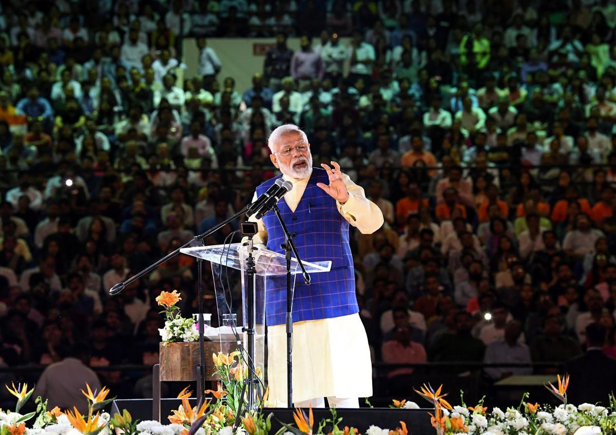 Prime Minister Narendra Modi addresses the New India Youth conclave. PTI photo.