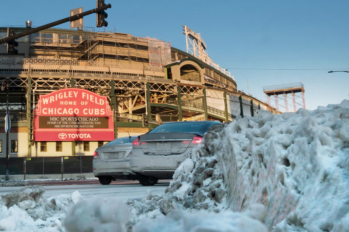 Desolate Wrigley Field is seen at sunset during subzero temperatures carried by the polar vortex, in Chicago. Reuters