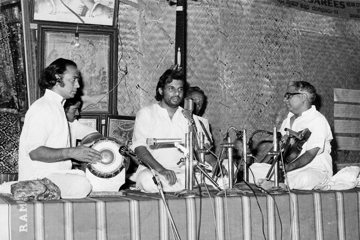 Legendary singer K J Yesudas performing at the 1976 Ramanavami music festival at the Fort High School grounds.