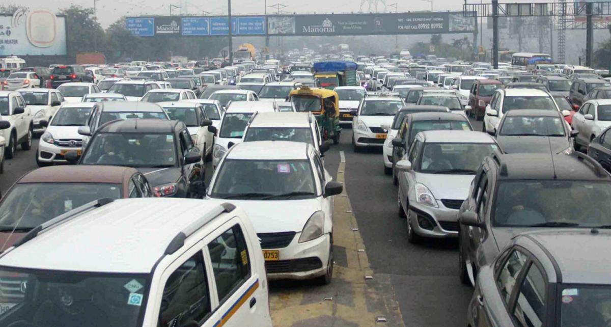 The Delhi-Noida-Direct flyway, a crucial route connecting UP and Delhi, was shut briefly on Friday evening as farmers from western UP districts protested on the route, throwing traffic movement out of gear. (PTI Photo)