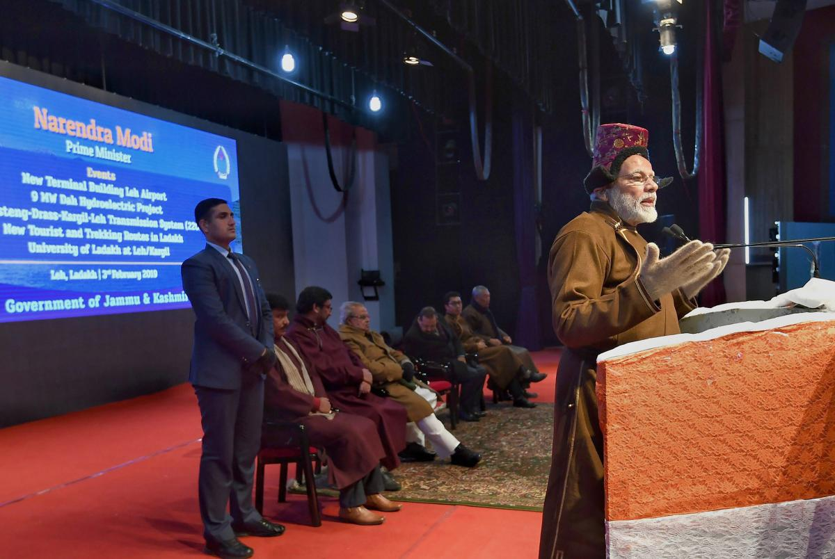Prime Minister Narendra Modi addresses a gathering during a function, in Leh region of Jammu and Kashmir. (PIB Photo via PTI)