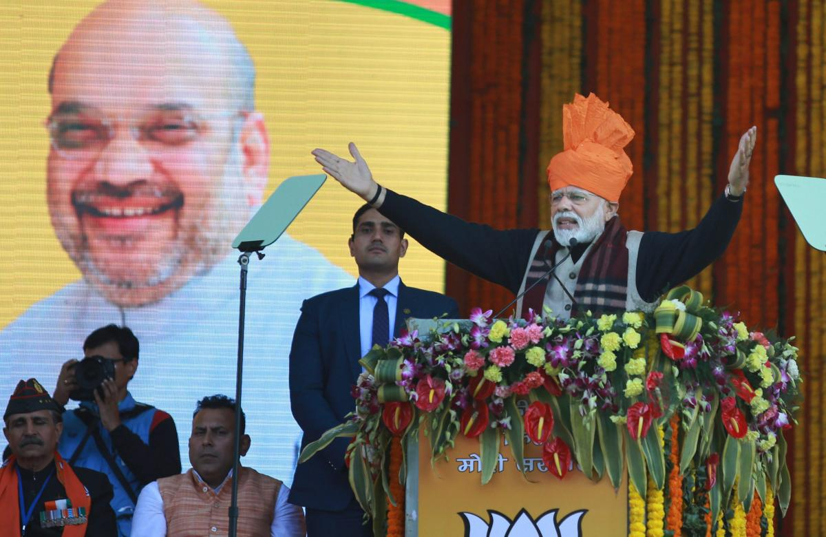 Prime Minister Narender Modi addresses a public rally after laying the foundation stone of AIIMS and Jammu-Akhnoor four-lane Highway during his visit at Vijay Pur in Samba district of Jammu and Kashmir. (PTI Photo)