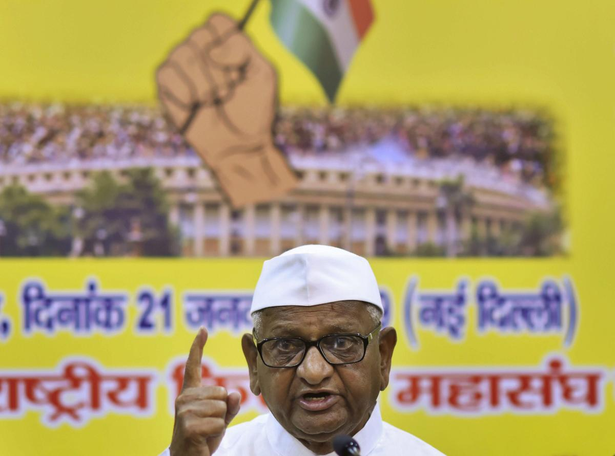 The 81-year-old anti-graft crusader has been on hunger strike in his native Ralegan Siddhi village in Ahmednagar since Wednesday. PTI file photo.