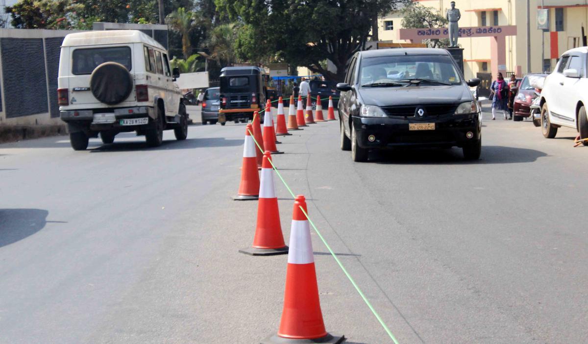 The tubular cones at the General Thimayya Circle in Madikeri.